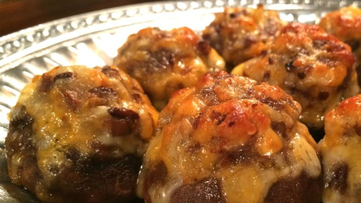 Mango Bacon and Cheddar Stuffed Mushrooms