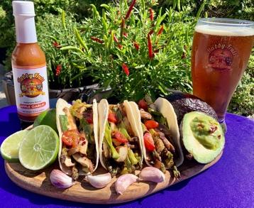 Apple Garlic Grilled Asparagus & Shiitake Tacos (Vegan)