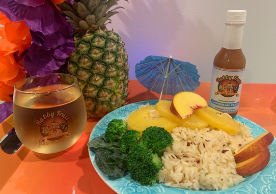 Caribbean Peach Pineapple Rice (Vegan Friendly)