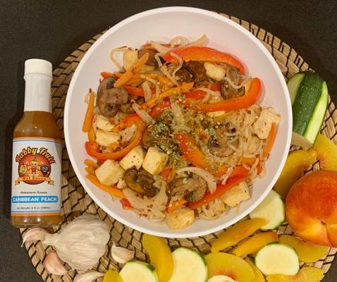 Caribbean Peach Vegetable Lo Mein (Vegan)